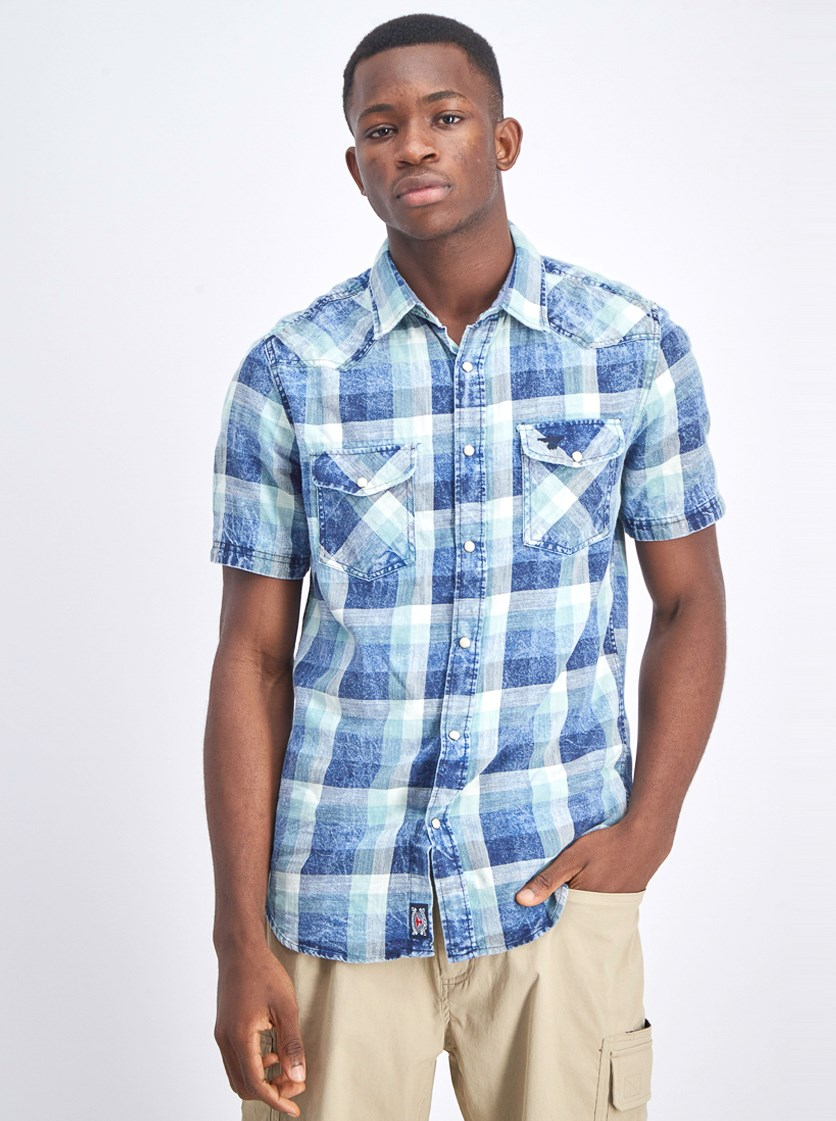 Men's Checkered Front Pocket Short Sleeve Shirt, Navy/Aqua  Combo