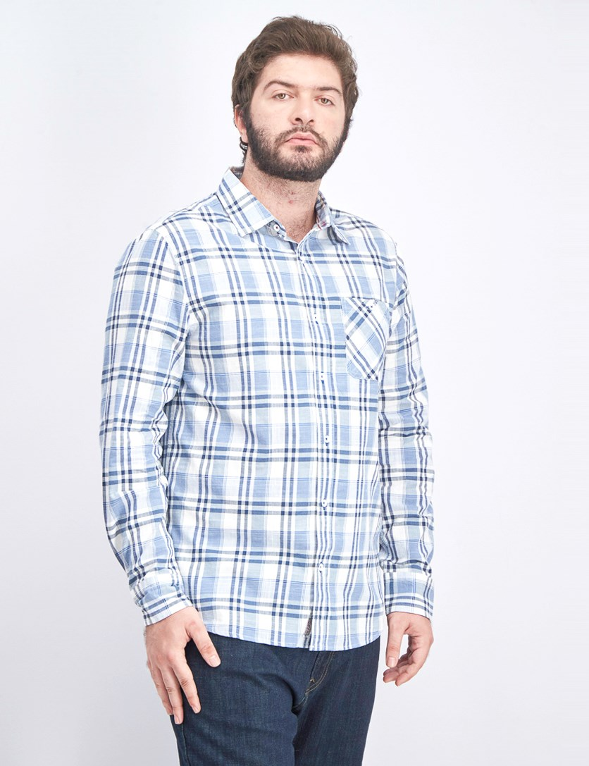 Men's Textured Long Sleeve Shirt, Light Blue/White
