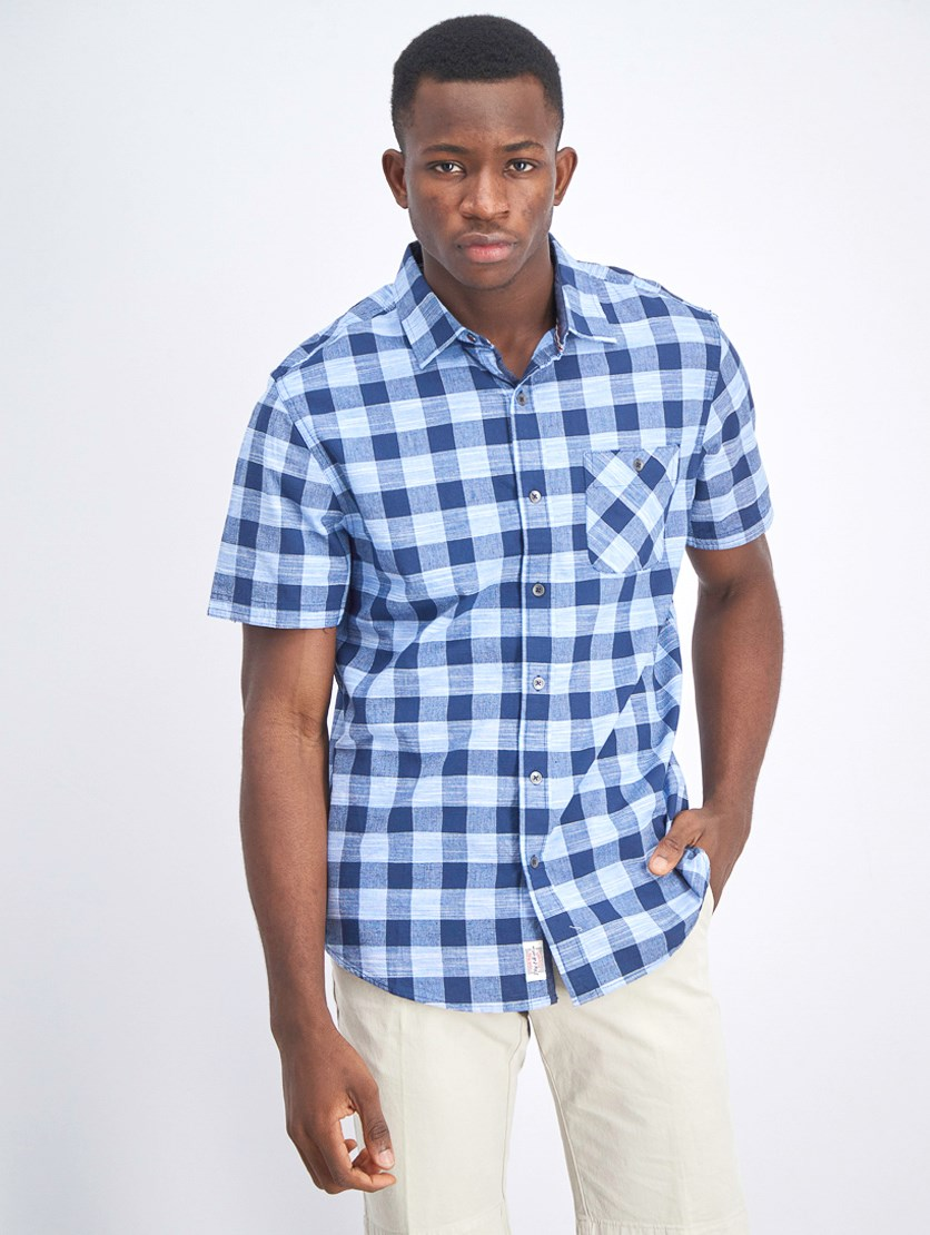 Men's Short Sleeve Plaid Shirt, Navy