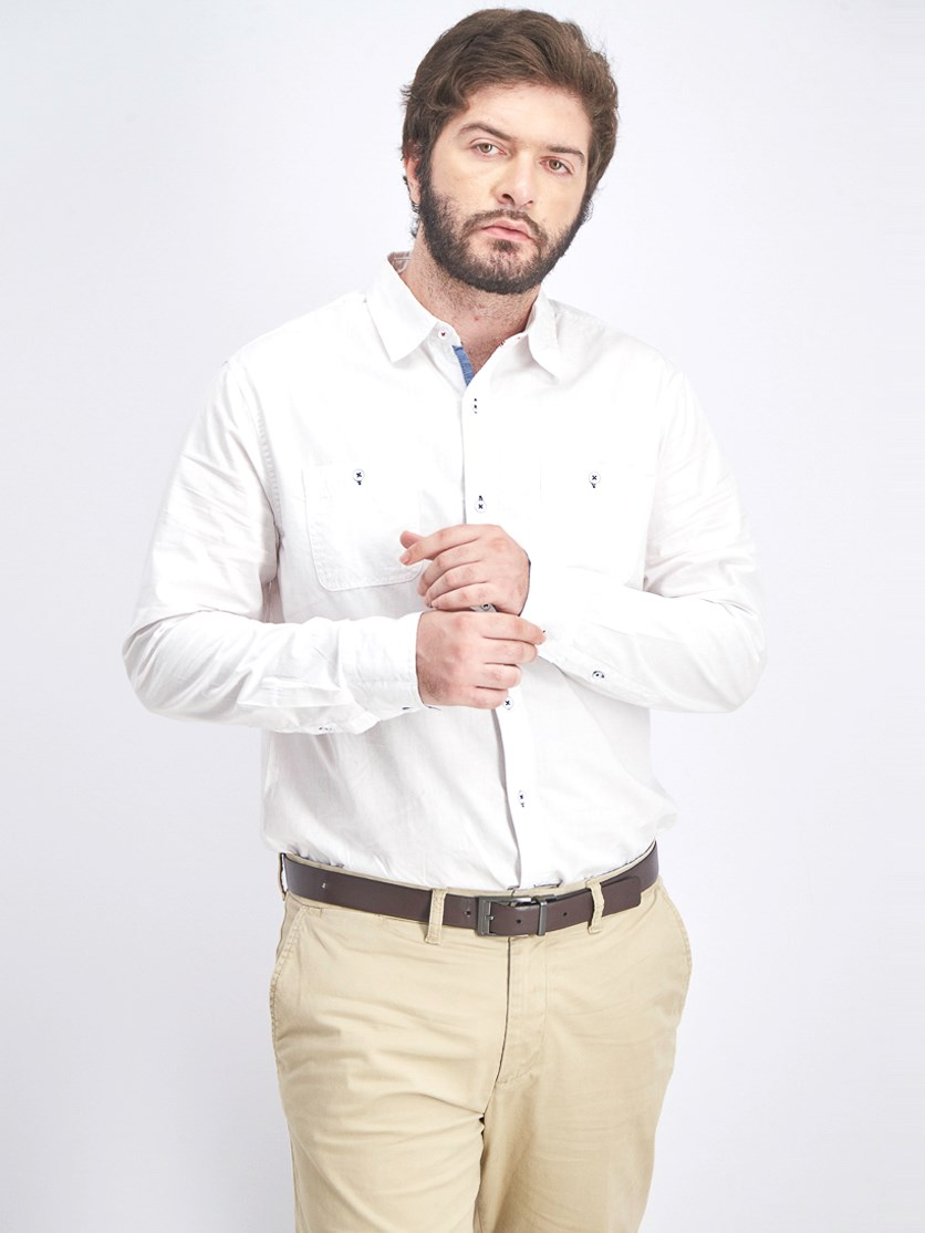 Men's Long Sleeve Casual Shirt, White