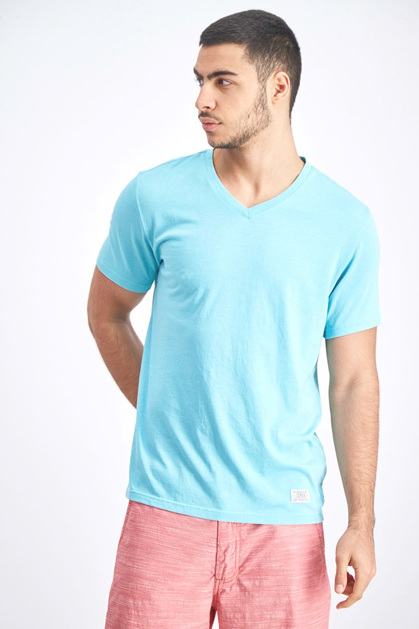 Men's V-Neck Shirt, Aqua Sky