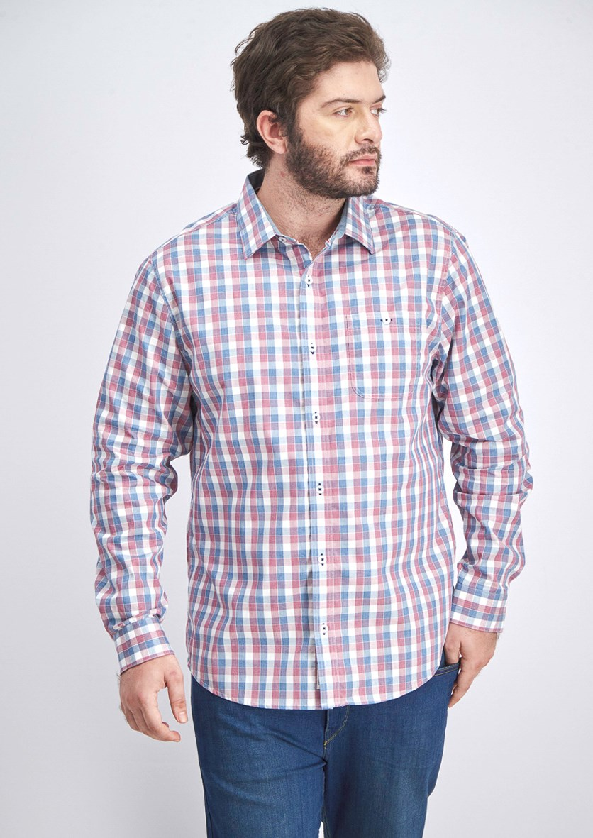 Men's Checkered Longsleeve Casual Shirt, Blue/Red