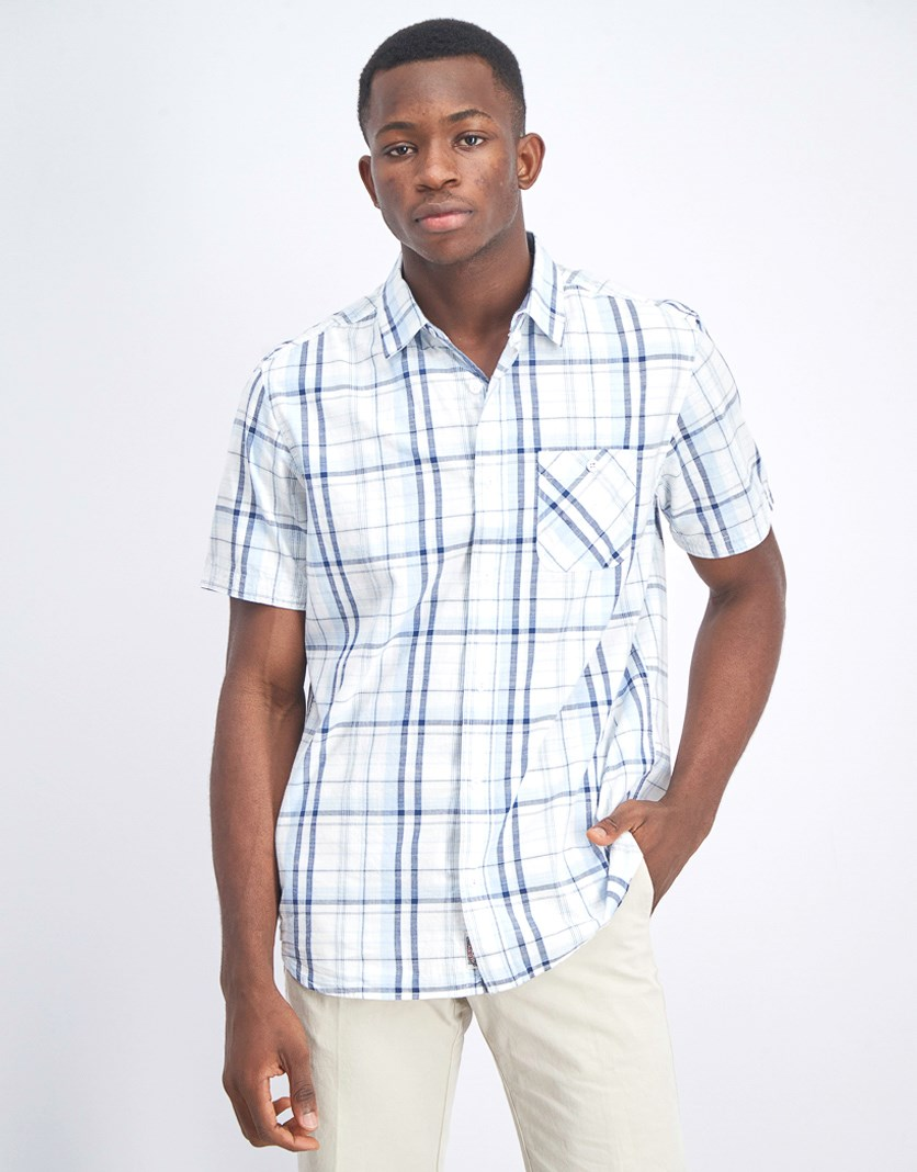 Men's Short Sleeve Checkered Shirt, Light Blue