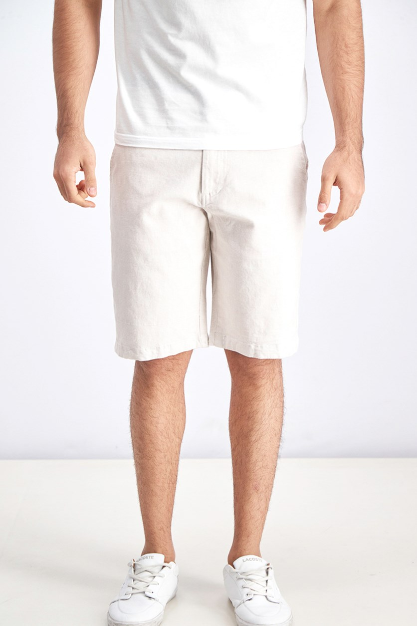 Men's Textured Shorts, Khaki White