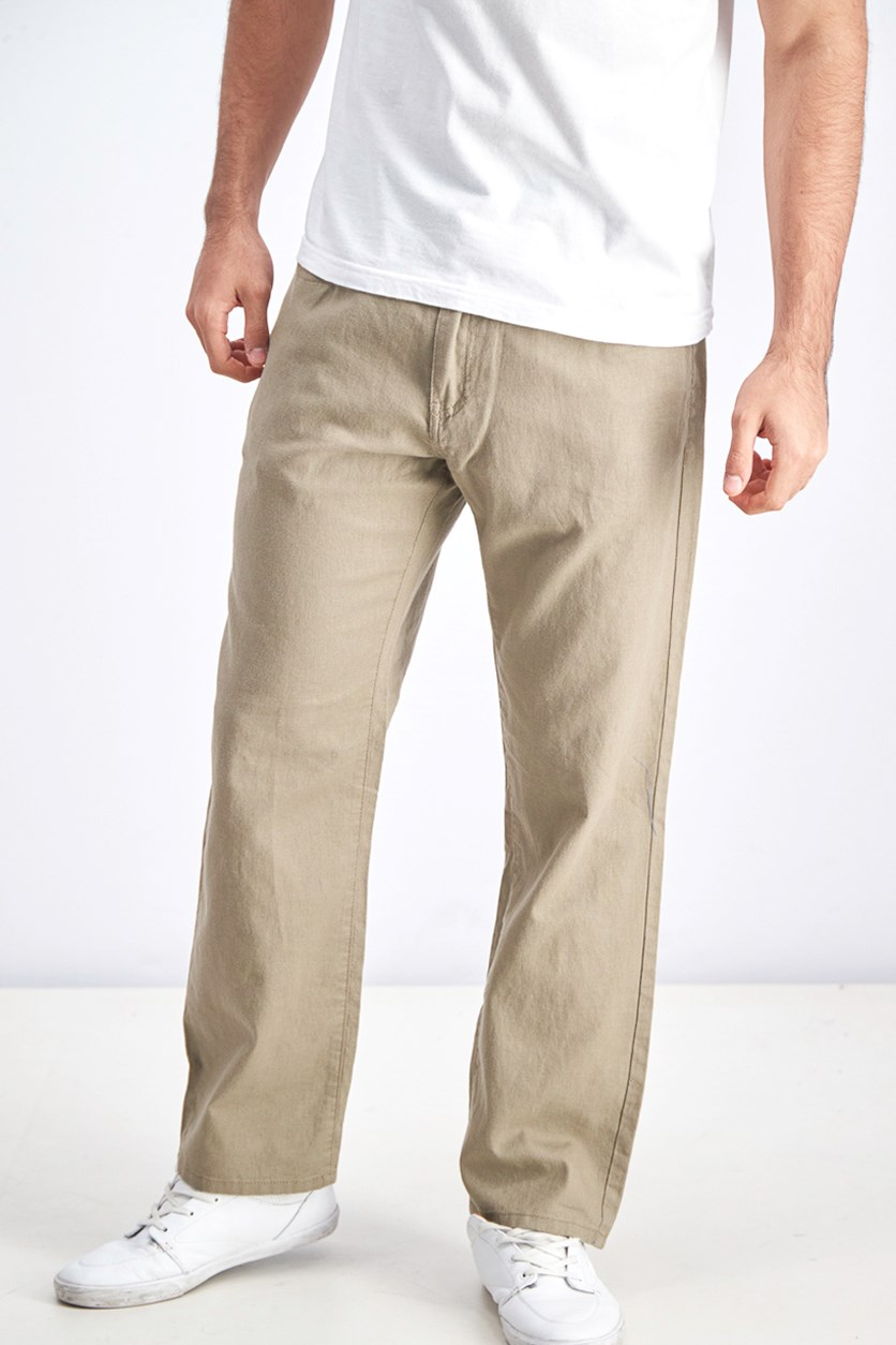 Men's Belts Loops Chino Pants, Light Olive
