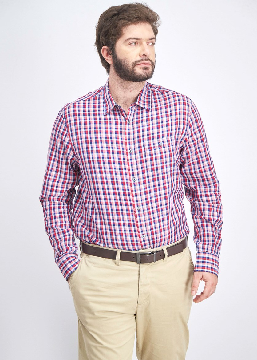 Men's Plaid Button Down Shirt, Pink/Navy