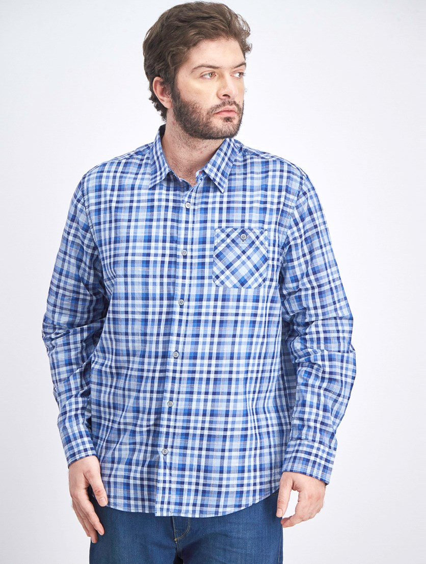 Men's Checkered Long Sleeve Shirt, Blue/Navy