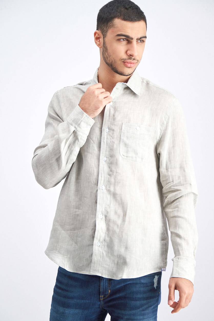 Men's Woven Longsleeve Shirt, Grey