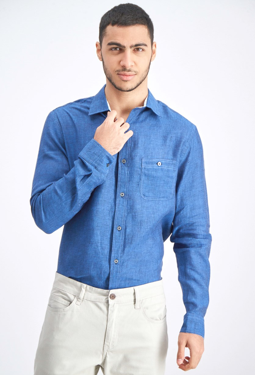 Men Long Sleeve Shirt, Blue