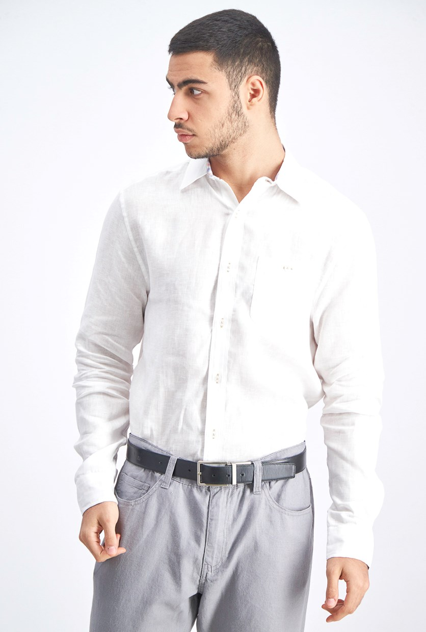 Men's Linen Button Down Shirt, White