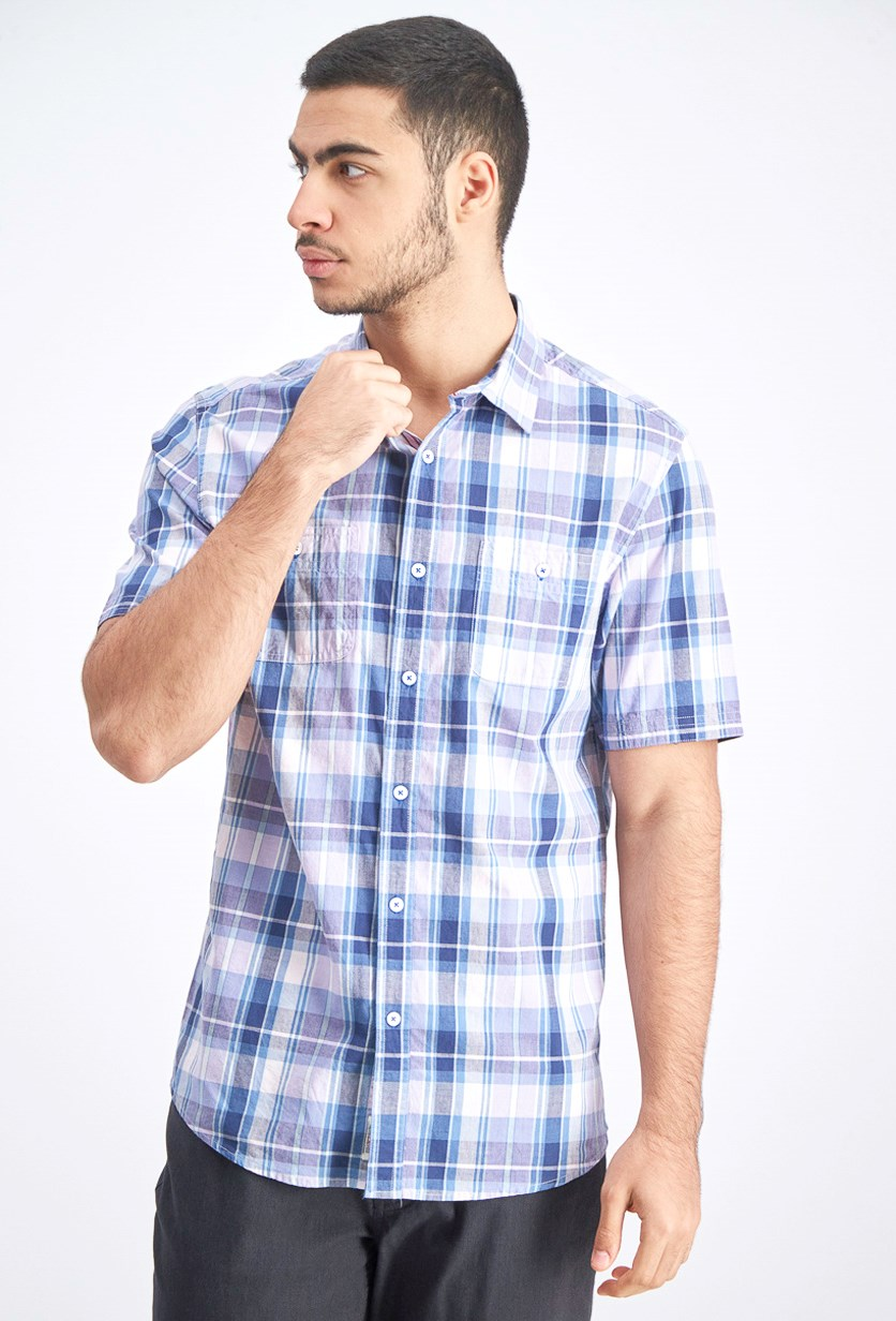 Men's Short Sleeve Plaid Casul Shirt, Blue/Gray Combo