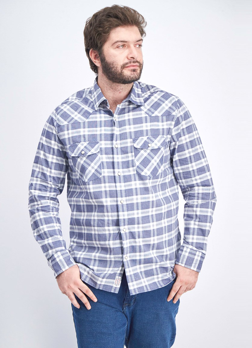 Men's Checkered Long-sleeve Casual Shirt, Blue/White