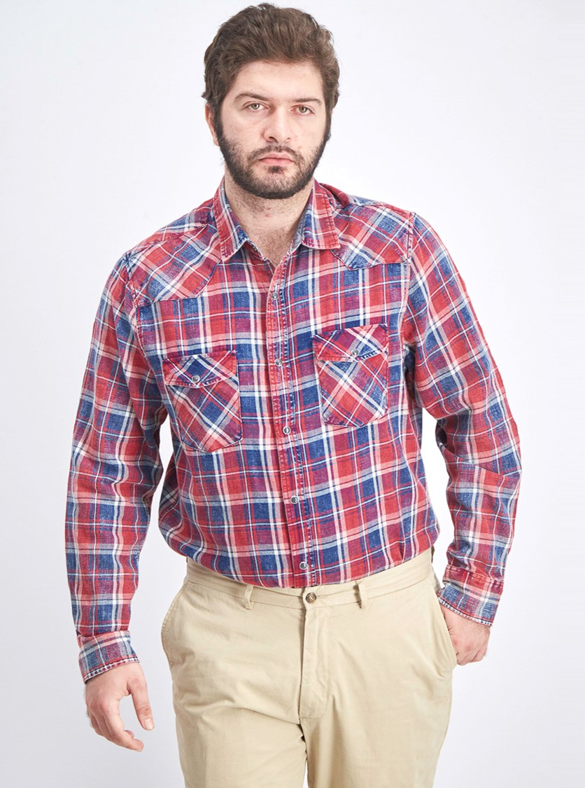 Men's Plaid Long Sleeve Shirt, Blue Combo