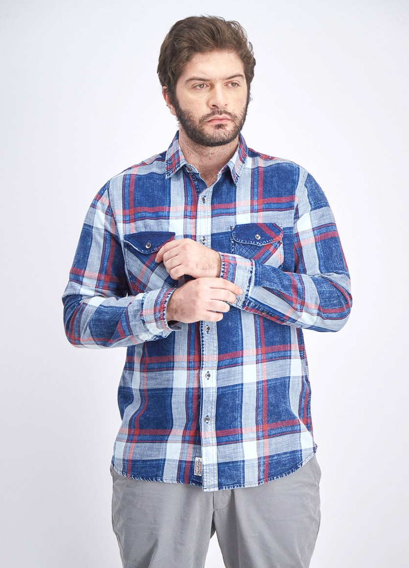 Men's Textured Long Sleeve Shirt, Indigo Combo