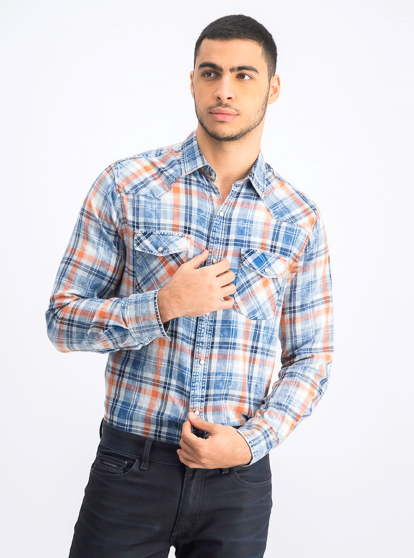 Men's Long Sleeve Plaid Shirt, Blue Combo
