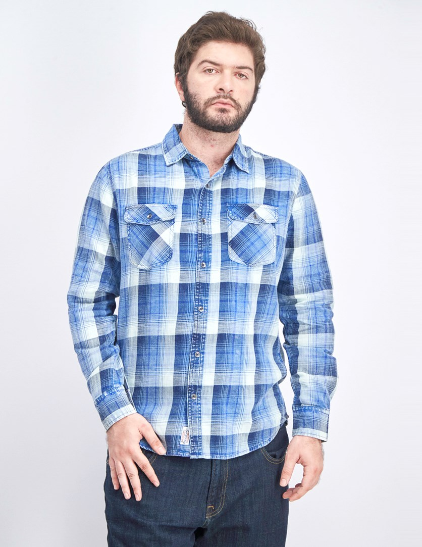 Men's Plaid Long Sleeve Shirt, Blue