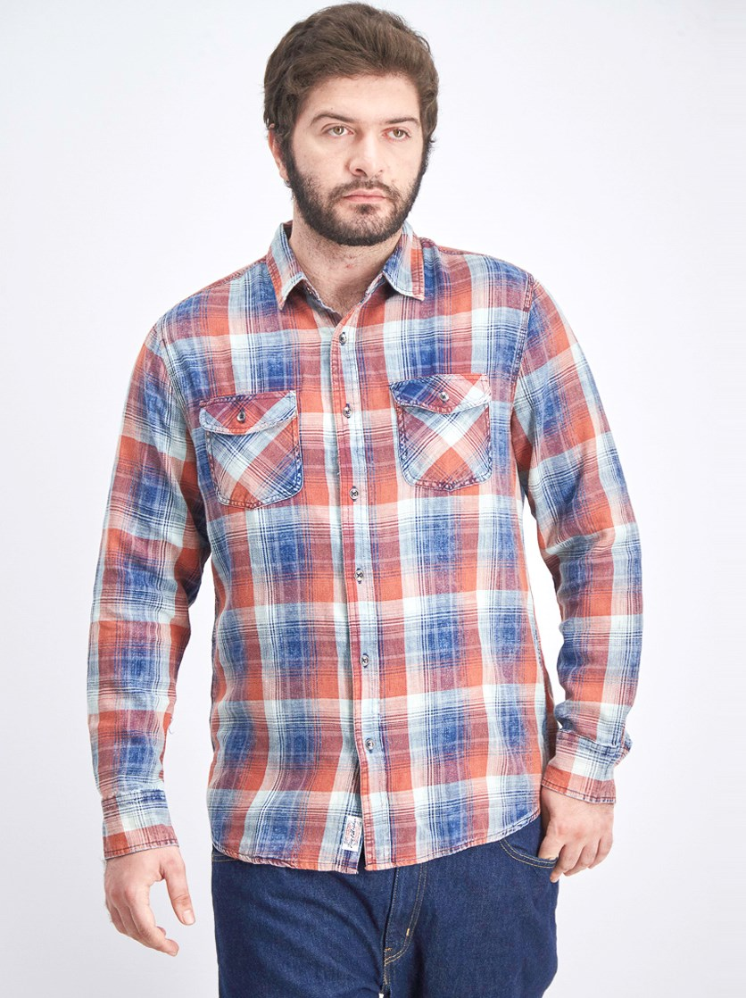 Men's Plaid Long Sleeve Shirt, Navy/Orange