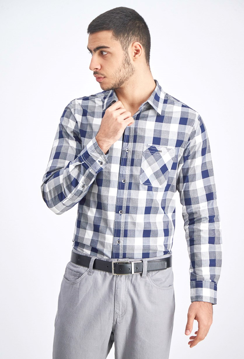 Men's Plaid Button Down Shirt, Navy Combo