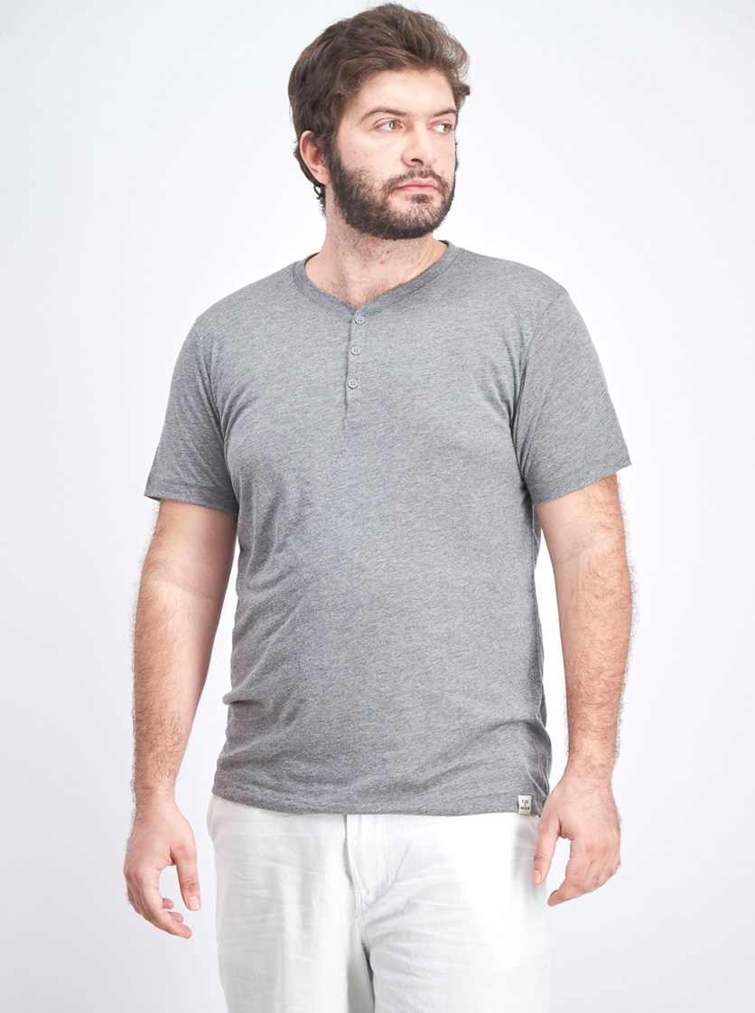 Men's Henley Shirt, Heather Grey
