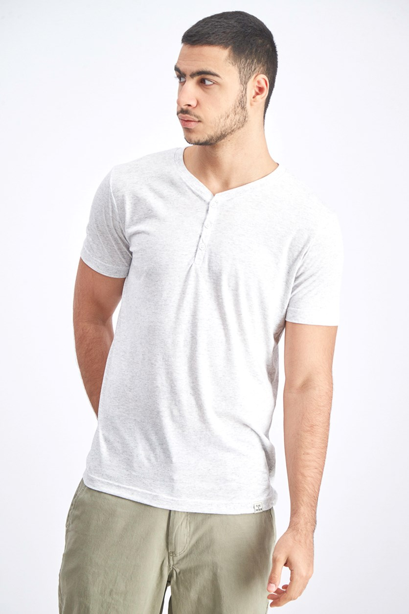 Men's Henley Shirt, White/Grey