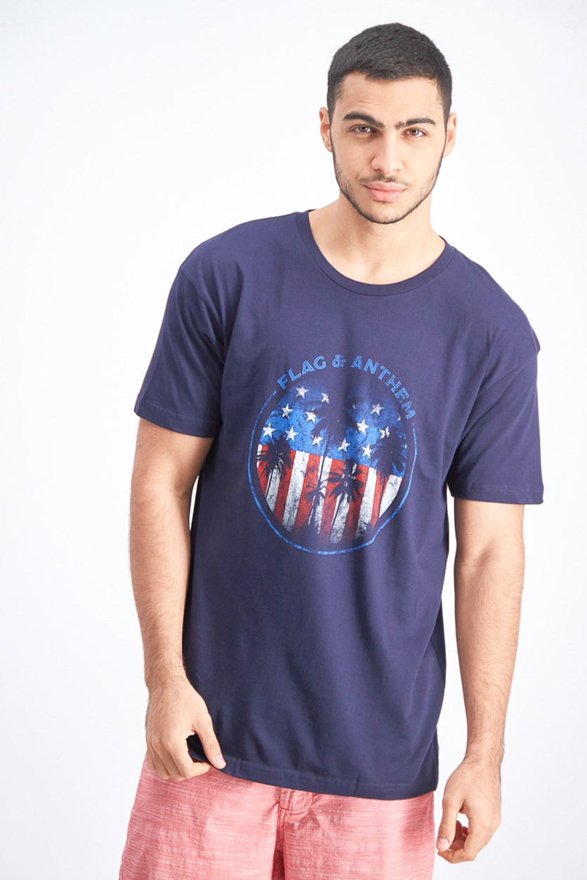 Men's Graphic Print Shirt, Navy