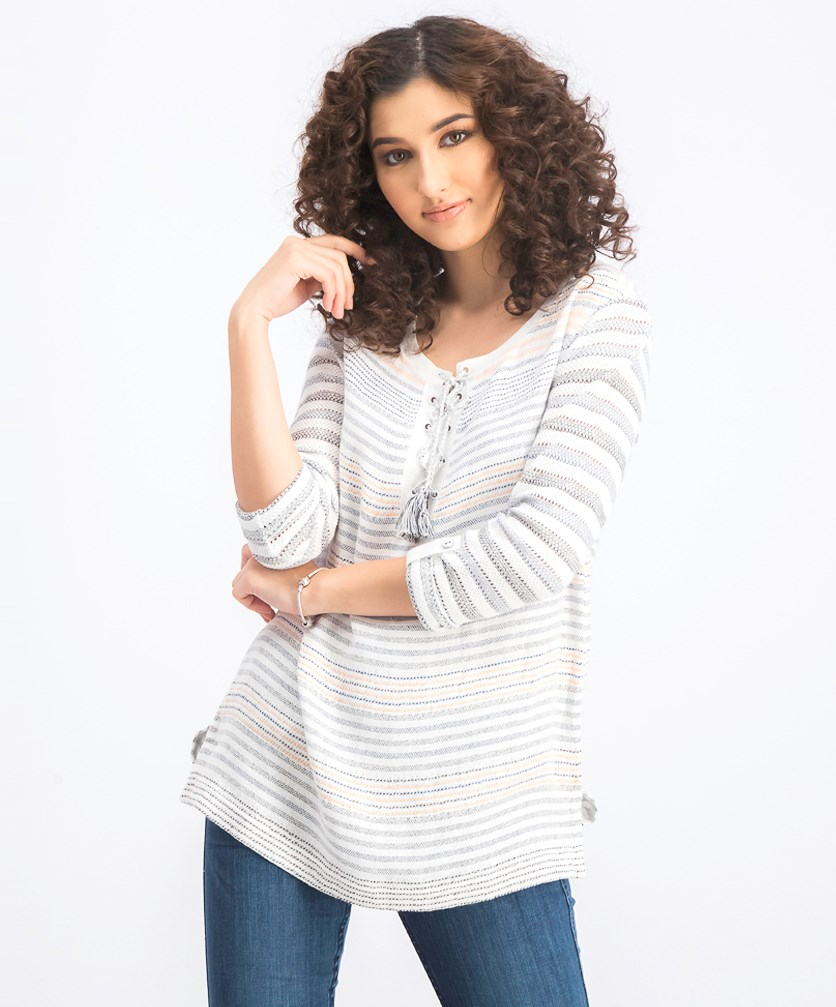 Women's Textured Lace-Up Sweater, White Combo