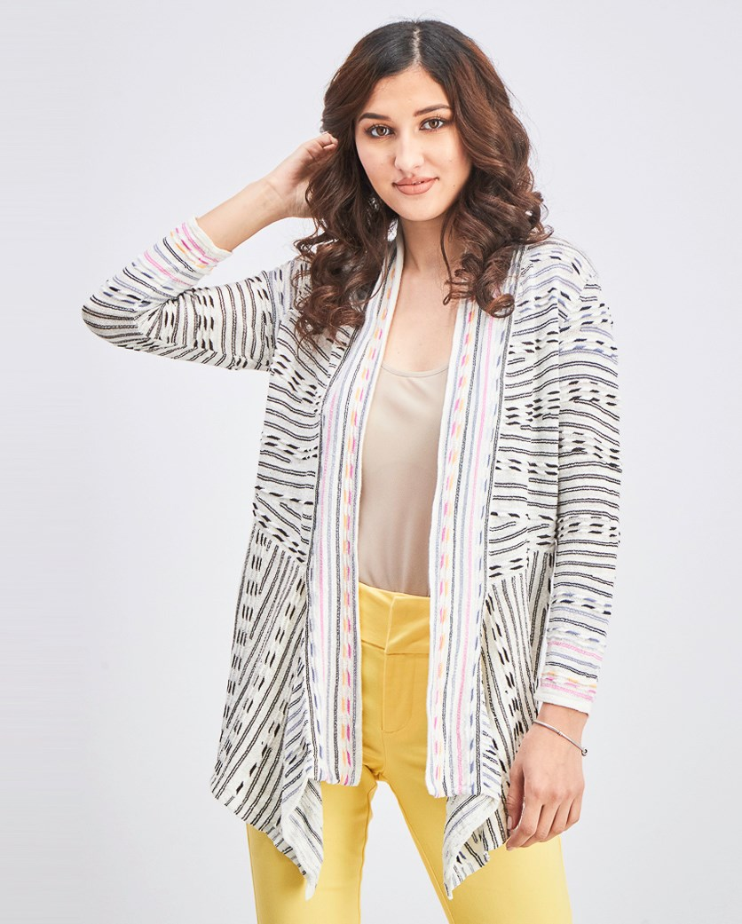 Women's Maze Meadows Stripe Cardigan, White/Black