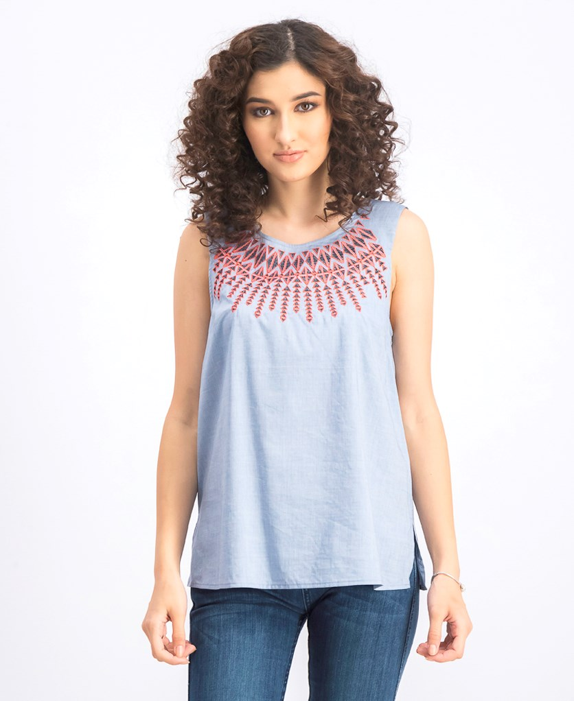 Women's Spring Indigo Layer Top, Chambray