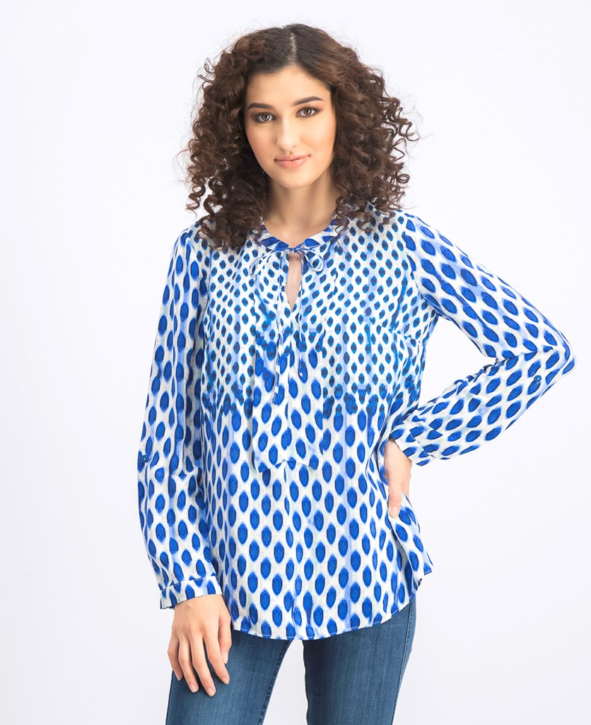 Women's Falling Dots Top, Blue Combo