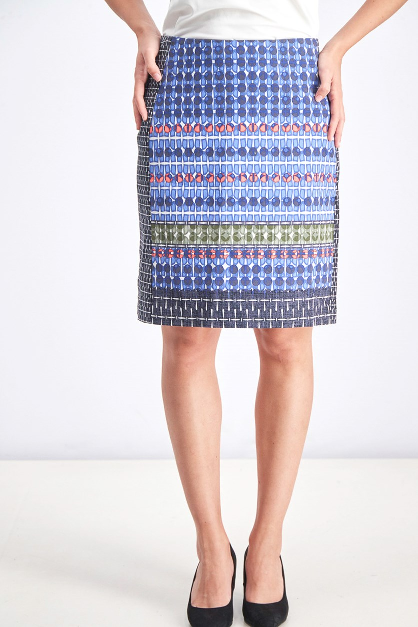 Women's Tile Pencil Skirt, Blue Combo