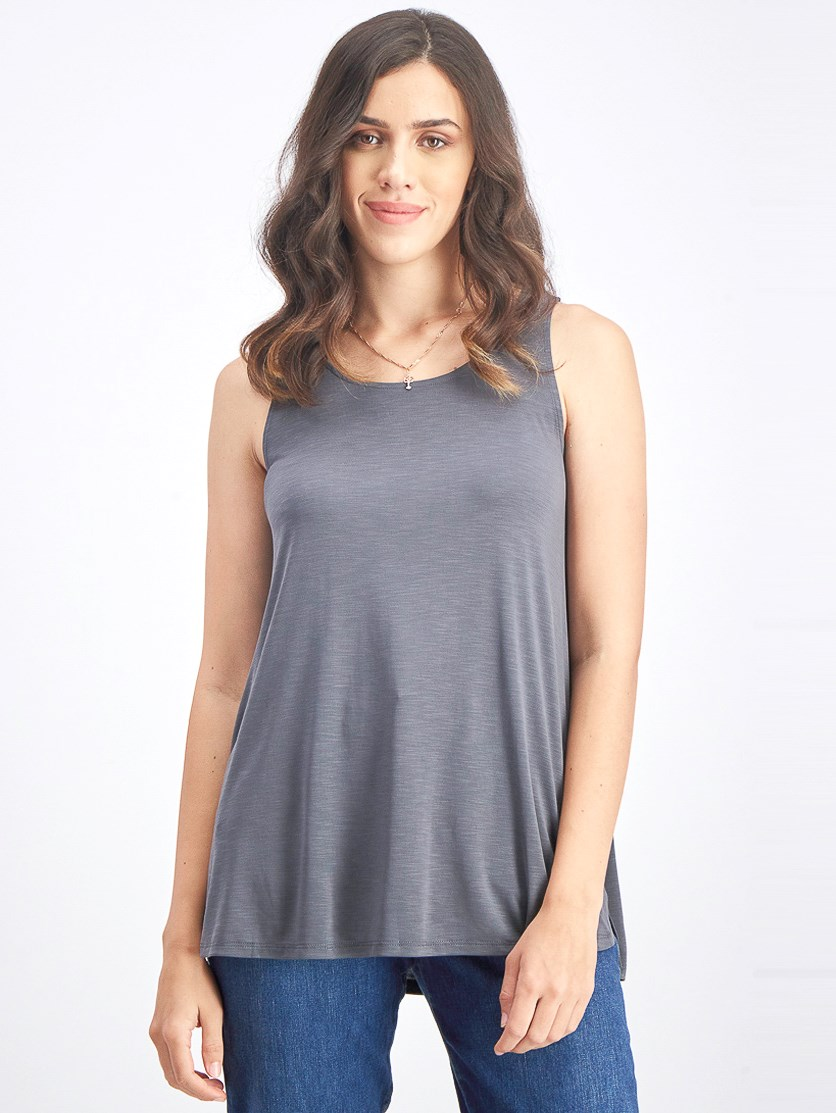 Women Sleeveless Tank Top, Dark Grey/Washed Ink