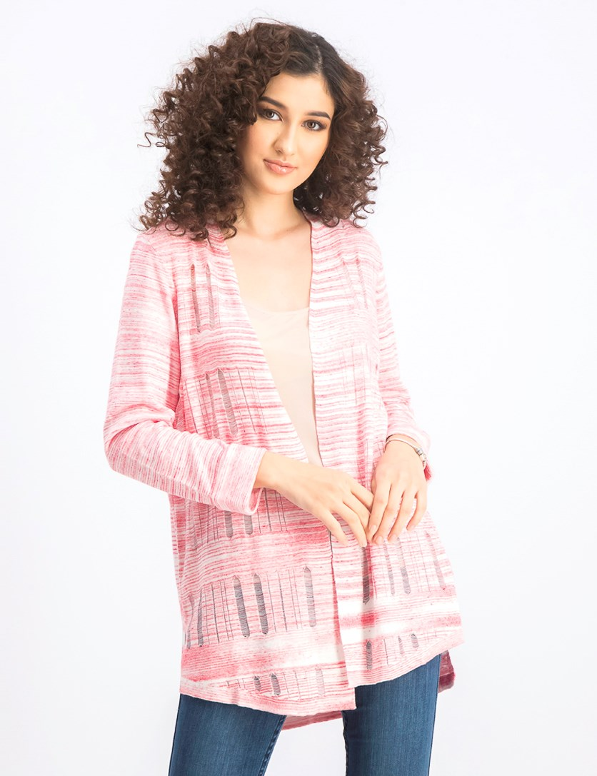Women's Open-Front Textured Cardigan, Red Sangria