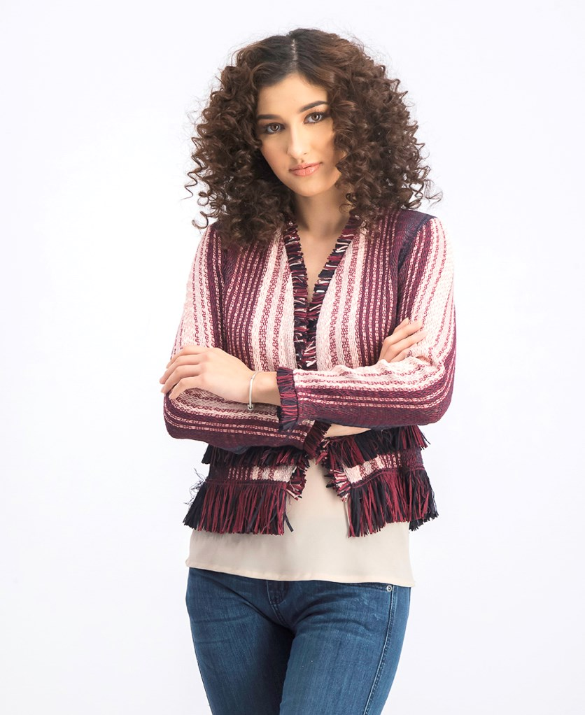 Women's City Dreams Fringe Cardigan, Maroon Combo