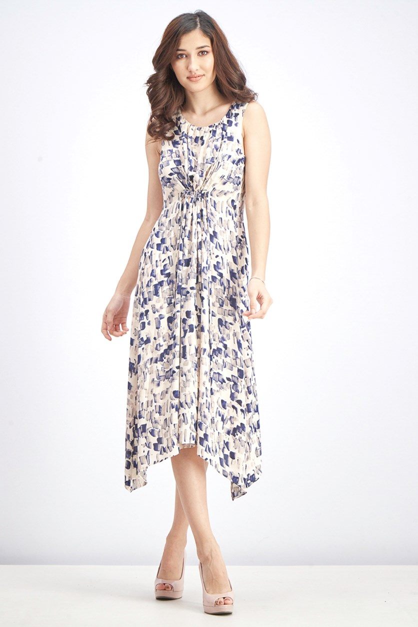 Women's Petal or Nothing Shirred Midi Dress, Navy/Pale Pink