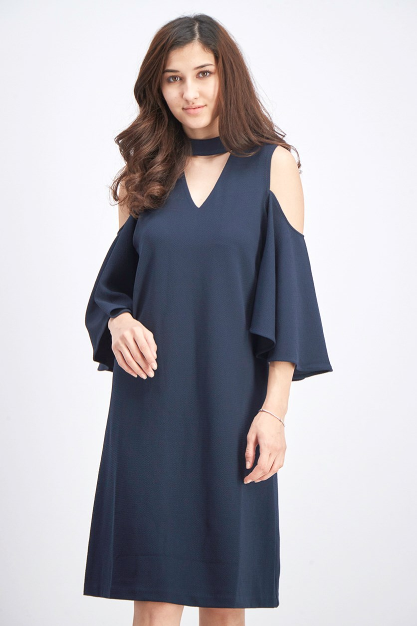 Women's Textured Flutter Sleeve Dress, Midnight