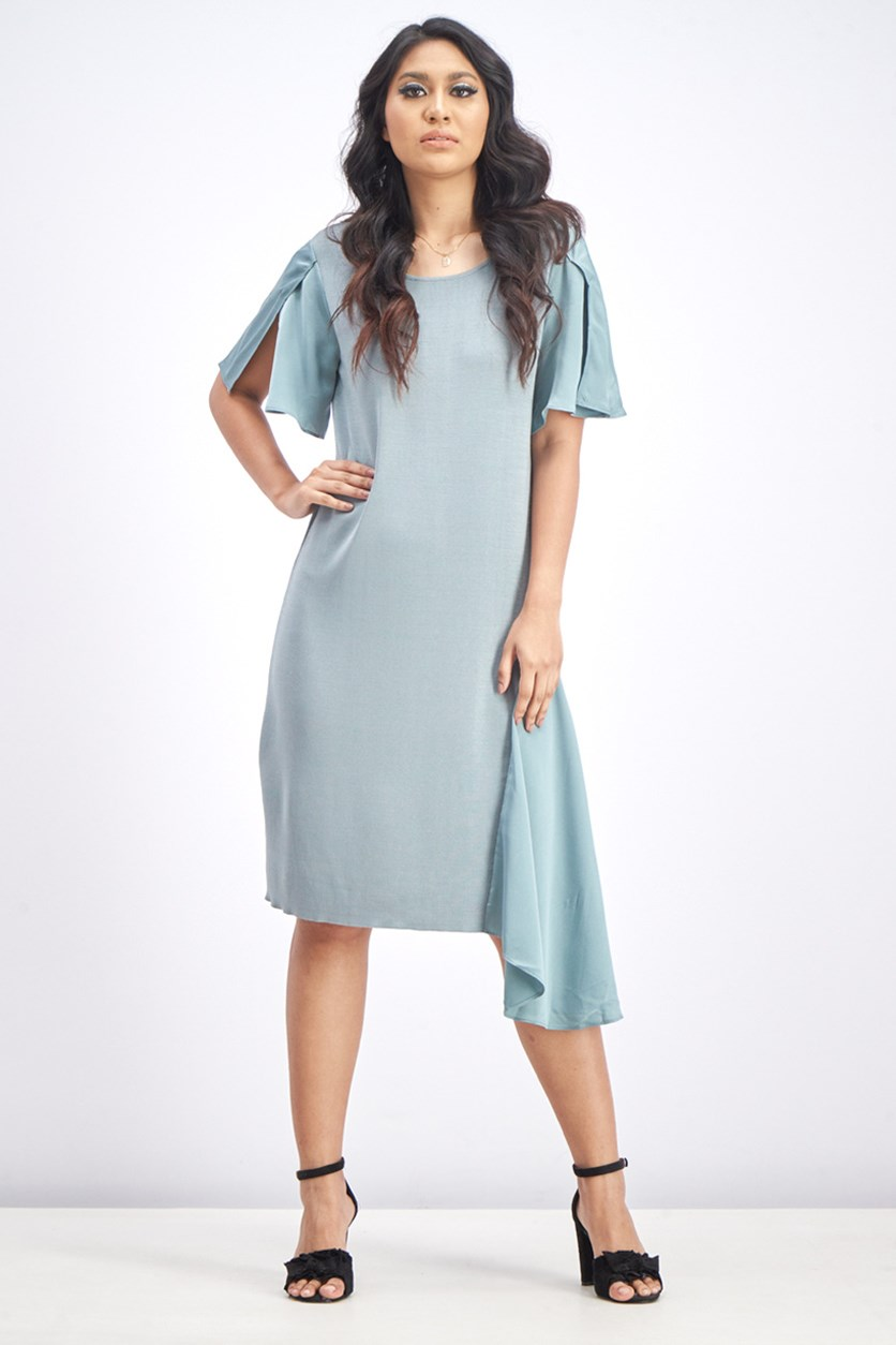 Women's Ruffle Midi Dress, Sage
