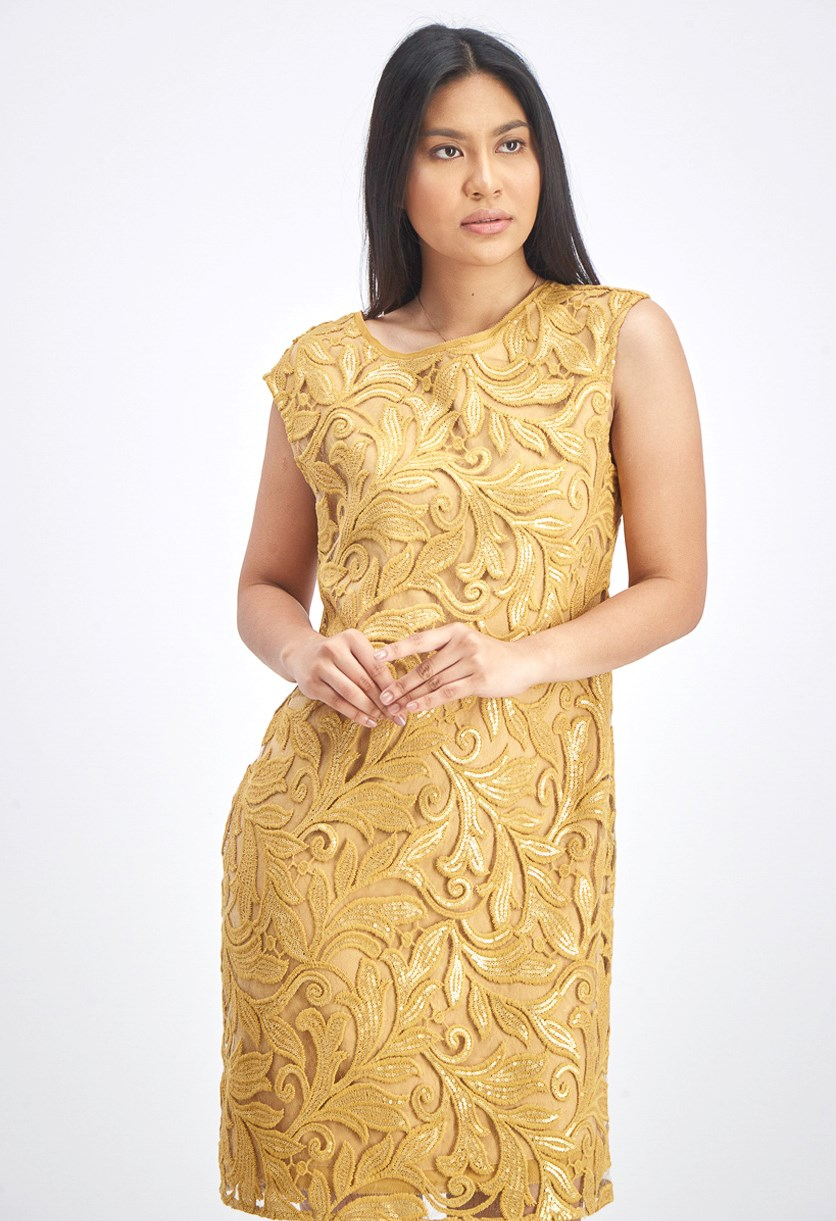Women's Sequined Lace Shift Dress, Gold