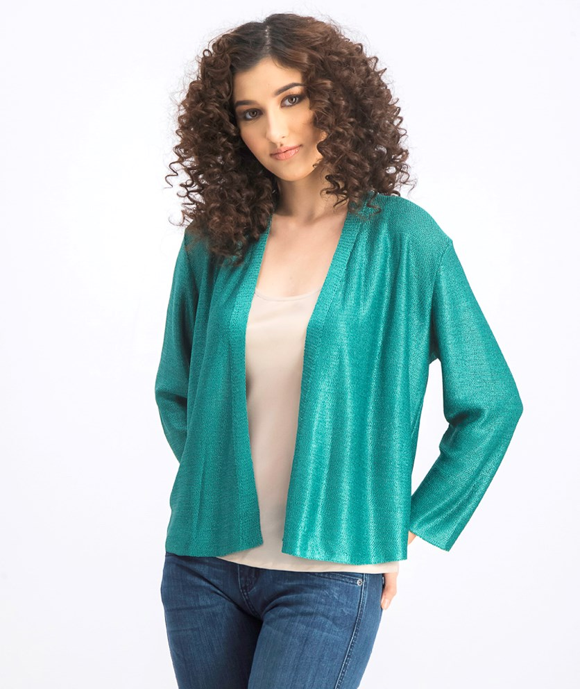 Women's Textured Open-Front Cardigan, Cactus