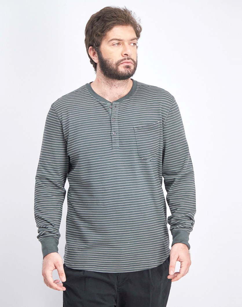Men's Stripe Sweater, Asphalt