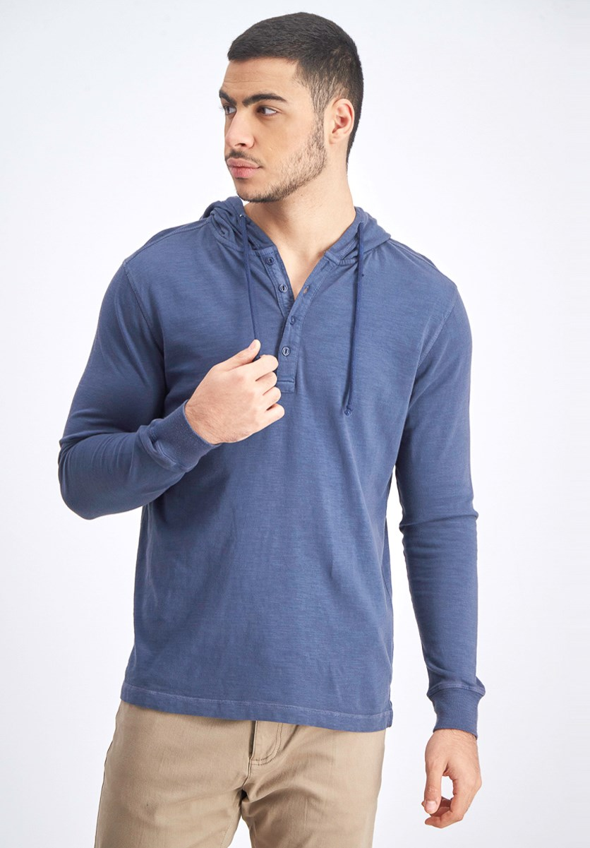 Men's Hooded Pullover Sweater, Indigo