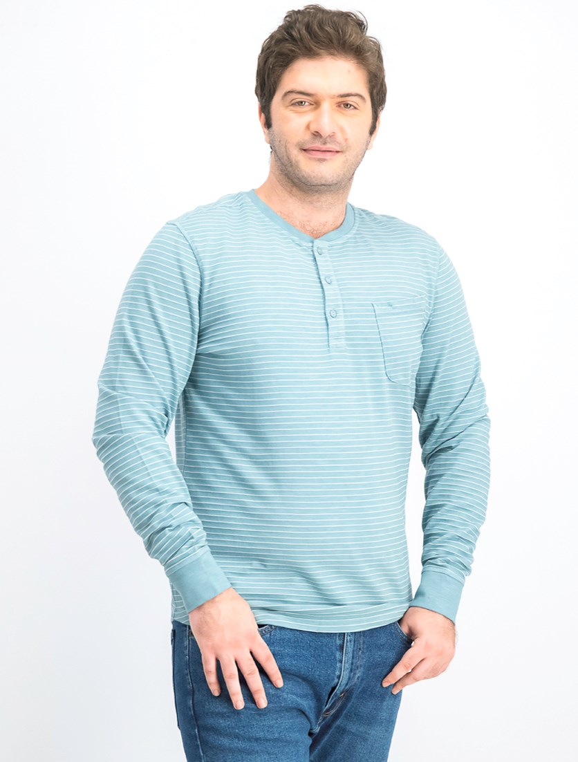 Men's Stripe Sweater, Blue
