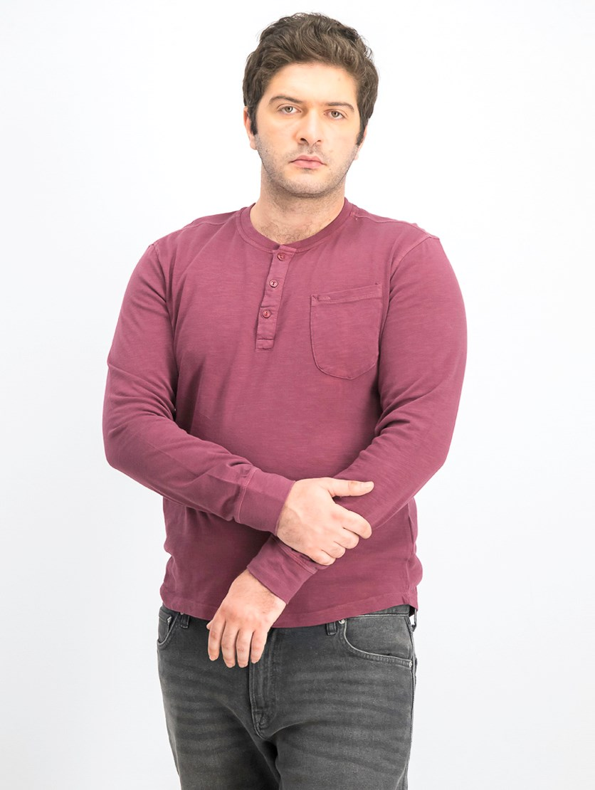 Men's Pullover Long Sleeves T-shirt, Rust