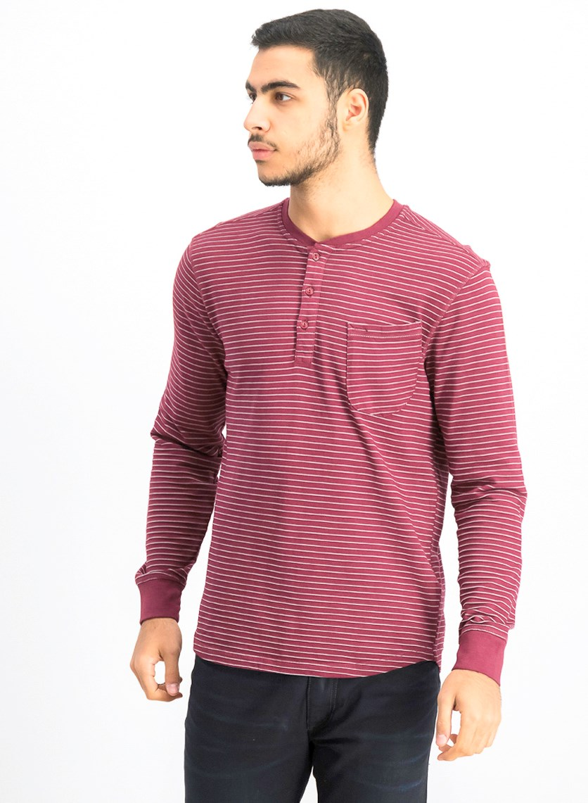 Men's Stripe Long Sleeve Henley Shirt, Rust
