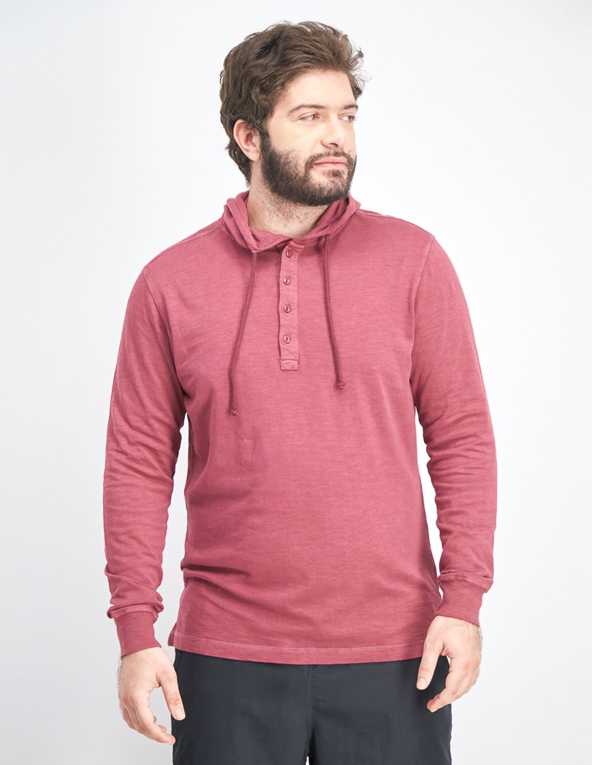 Men's Hooded Pullover Sweater, Rust