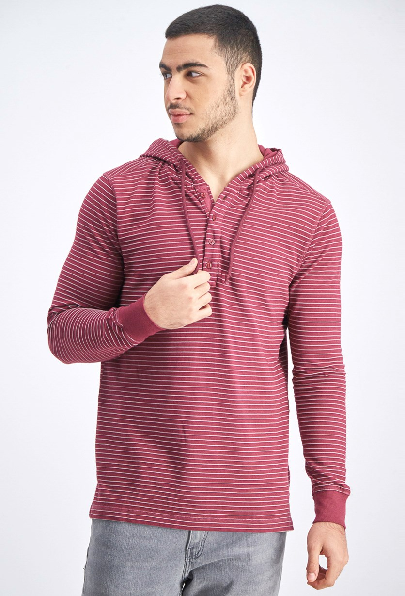 Men's Hooded Stripe Sweater, Rust