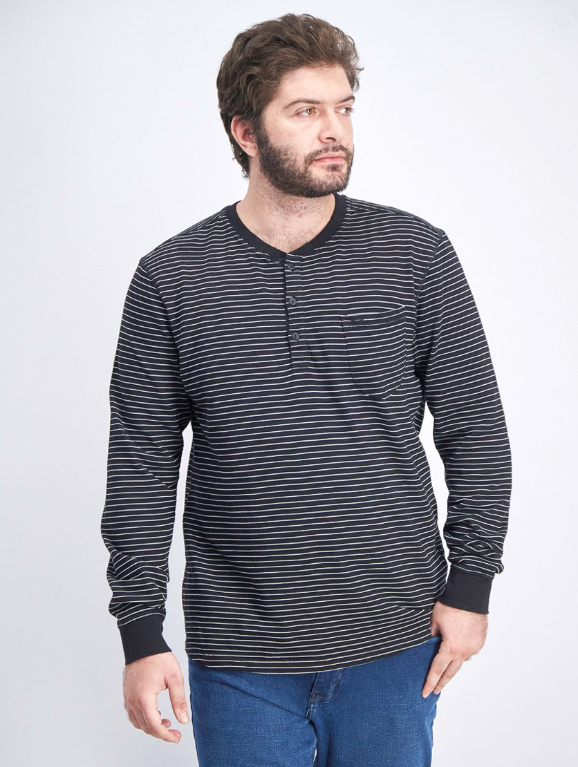 Men's Long Sleeve Stripe Sweatshirt, Black