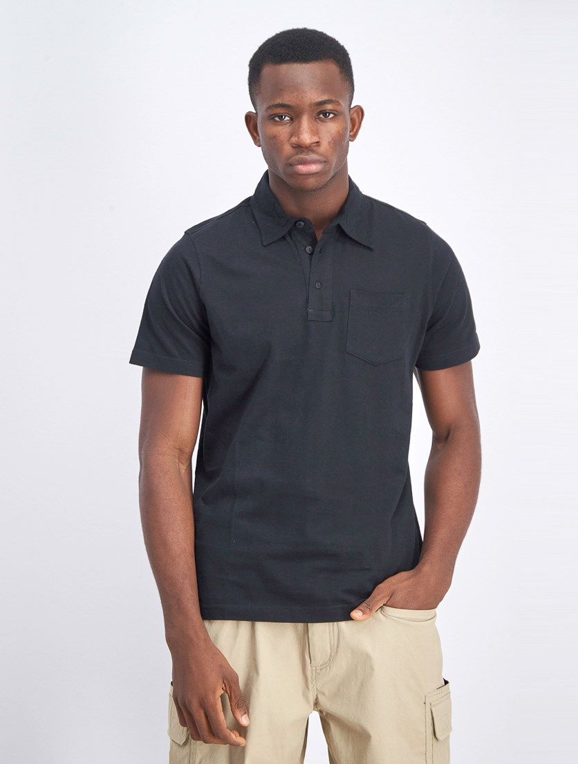 Men Short Sleeve Polo Shirts, Black