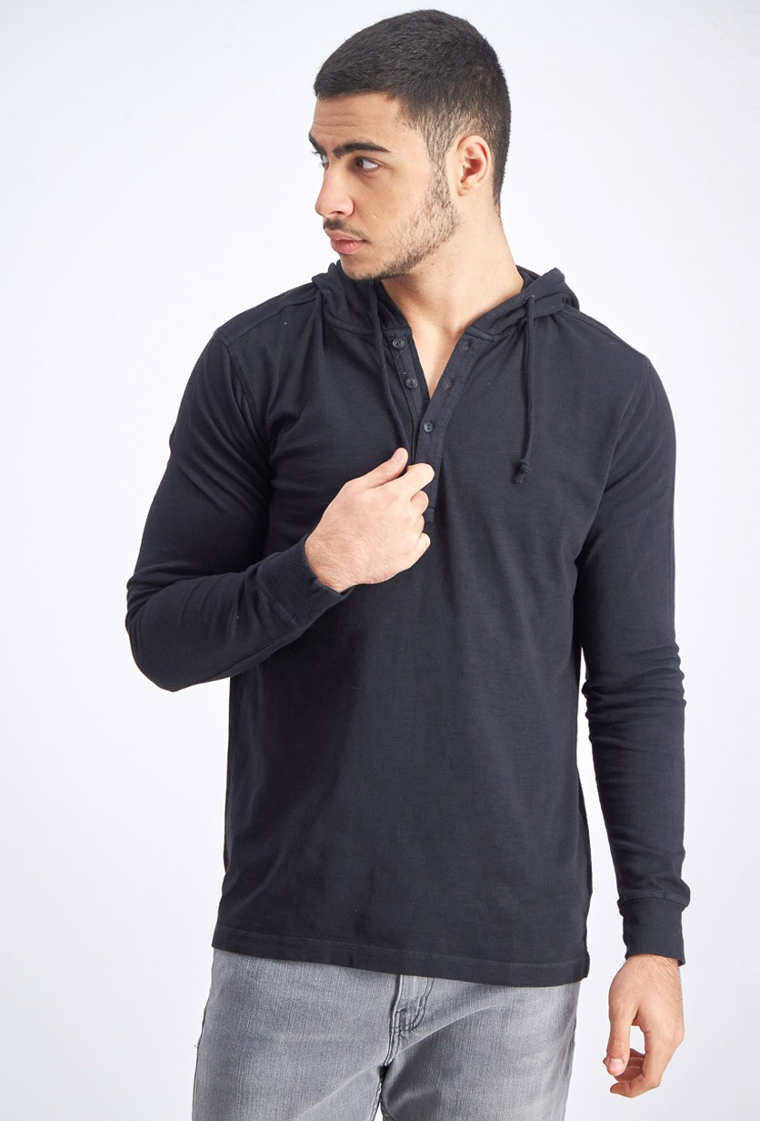 Men's Hooded Pullover Sweater, Jet Black
