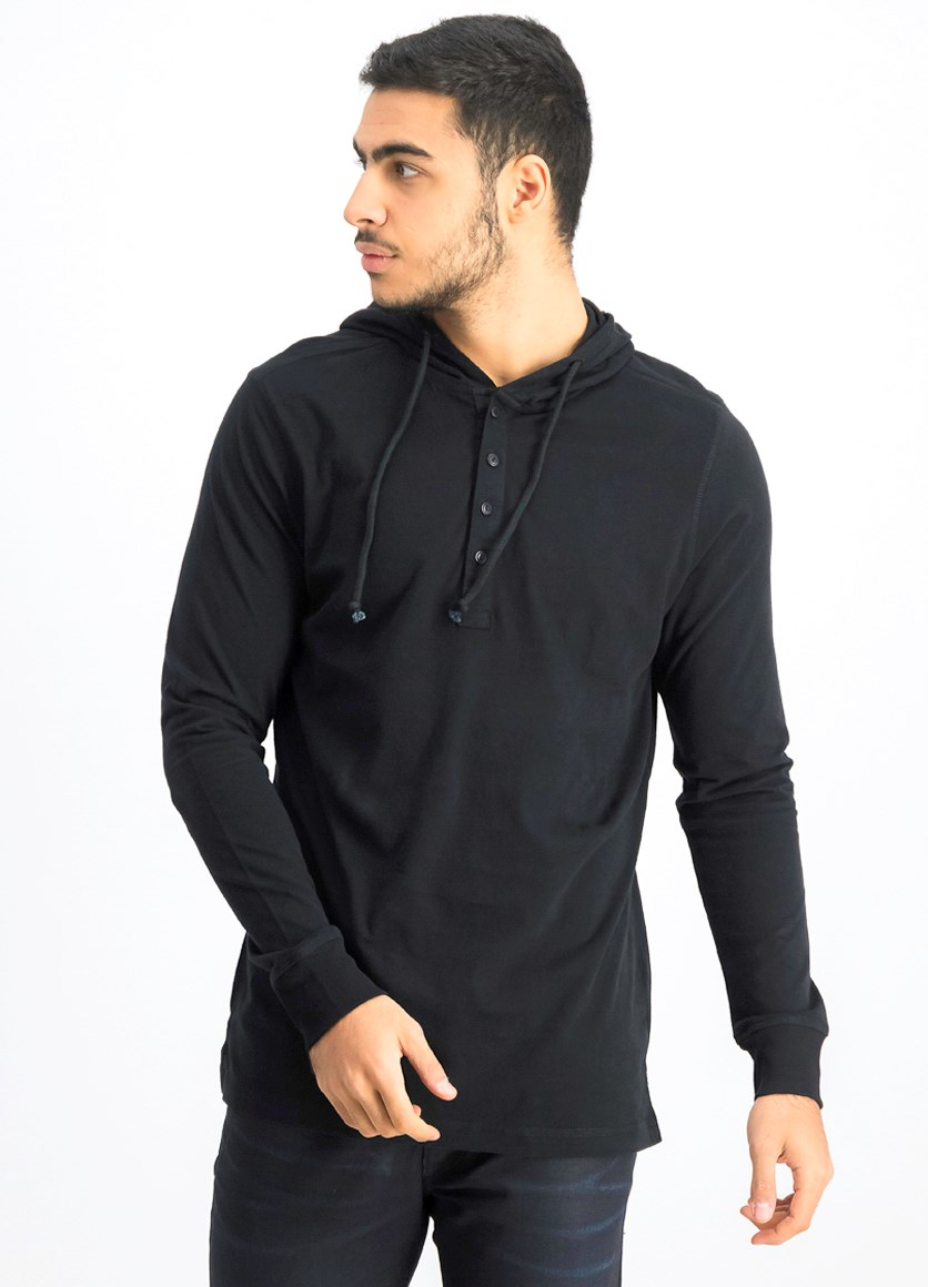 Men's Hooded Long Sleeves, Black
