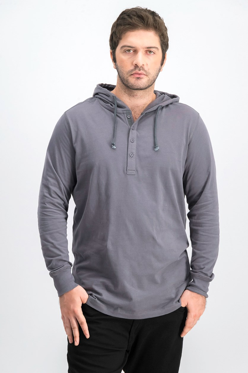 Men's Hooded Long Sleeves, Asphalt